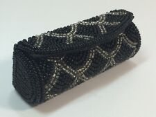 Vintage Beaded Lip Stick Carrying Case with Mirror