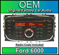 Ford 6000 CD player, Ford Focus car stereo headunit with Radio Code