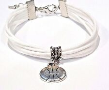 New White Cord bracelet with Basketball Charm