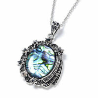 "Stainless Steel Abalone Shell Hematite Chain Pendant Necklace Gift Size 20"" Ct 3"