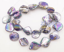 "15"" long 15-20mm rainbow black mother of pearl shell loose beads jewelry making"