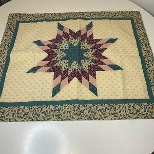 Quilt pillow sham star print tan green floral 28x23 cotton blend made in us