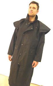 Made in England New Long Wax Cotton Stockmans Jacket Coat Black XS - XXXL