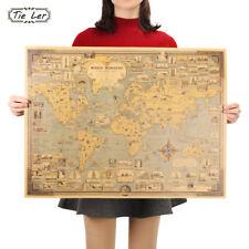 Vintage World Map Great Building Kraft Paper Poster Wall Sticker Art Craft Decor