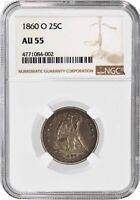 1860 O 25C Seated Liberty Quarter Silver NGC AU55 About Uncirculated Coin