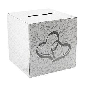 "White Silver Wedding Money Box Reception Wishing Well 10"" x 10"""