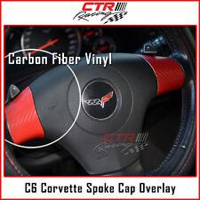 C6 Corvette Steering Wheel Spoke Cap Overlay Decal Red Carbon Fiber 05-13