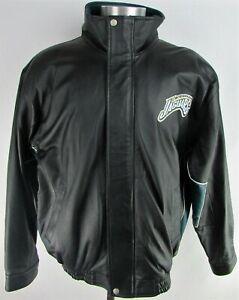 Jacksonville Jaguars NFL Reebok Jeff Hamilton Men's Black Vintage Leather Jacket