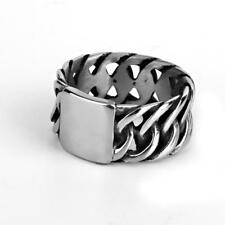 316L Stainless Steel Men's Vintage Silver Curb Chain Finger Ring Punk Rock