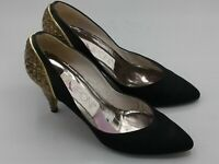 "Lamponi Black Satin Leather Pumps 2"" Embellished Heel Shoes 6 B Medium Womens"