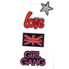 Lot de 4 Ecussons Thermocollants Etoile Love Union Jack Girl Gang REF 11713-6