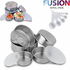 5 STACKABLE STAINLESS STEEL BOWL BOWLS FOOD STORAGE KITCHEN SPOONS SET WITH LIDS