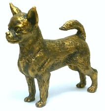 PEWTER HAND MADE MINIATURE CHIHUAHUA DOG FIGURINE IN BRONZE COLOUR STATUETTE