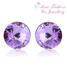 18K White Gold Plated Made With Swarovski Crystal Round Cut Purple Stud Earrings
