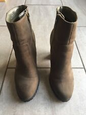 M&S Ladies Brown Suede Style Heeled Ankle Boots Size 4. Excellent  Condition.