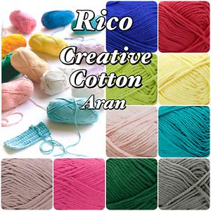 Rico Creative Cotton 100% Cotton Aran Weight Knitting/ Crochet Yarn 50g Ball