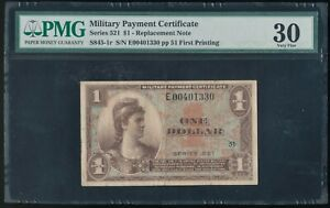 Series 521 $1 MPC Military Payment Cert. *Replacement Note!* PMG 30 Very Fine