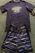 NWT Nike Boys YMD Navy Blue/BlueONLY ONE GEAR Shorts Set Medium