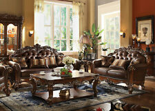 Old World Style Living Room Couch Set NEW Brown Faux Leather Sofa Loveseat IGA6