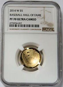 2014 W GOLD $5 BASEBALL HALL OF FAME PROOF COIN NGC PF 70 UC