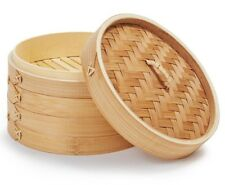 2 Tier Bamboo Steamer Set Two Layers One Lid Kitchen Cookware Dumplings Dim Sims