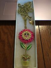 Rare Original Betsy Johnson Flower In A Pot Smiley Face Necklace So Much Fun!