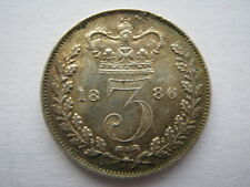1886 Young Head silver Threepence, EF.