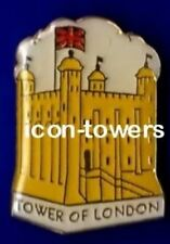TOWER of LONDON |  England, Yellow Souvenir Enamel Badge | Butterfly Pin Fixing