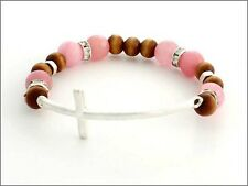 Pink and Wooden Beaded Stretch Bracelet w Silver Tone Curved Cross