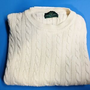 Men's Fred Perry Cotton Sweater Size Medium Cable Knit