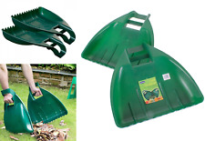 Pack Of 2 Leaf Grabber Hand Held Grab Waste Leaves Collector Hand Rake Green Lrg