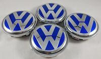 4x 65MM VW Volkswagen Wheel Center Hub Rim Caps Blue + Chrome 3B7601171XRW