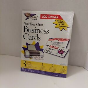 PC Papers By Ampad Print Your Own Business Cards Plain White Pack Of 100 NEW