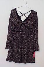 New Women's Xhilaration Black Lace Floral Tunic Hippie Dress Ruffle Sleeve Small