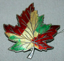 Antique Vintage Sterling Silver Enameled Maple Leafs Pin Brooch