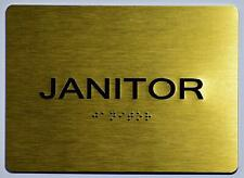 New listing Janitor Sign - Gold(Aluminium, Gold/Black,Size 5x7).(ref1820)