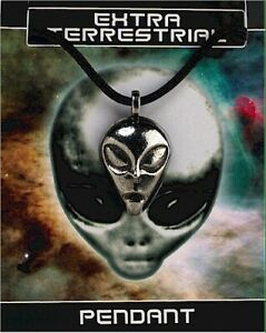 Alien / Extra Terrestrial Pewter Penant On A Waxed Cord