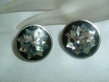 Clip Earrings in Gift Box Vintage Mexico Alpaca Silver Abalone Onyx