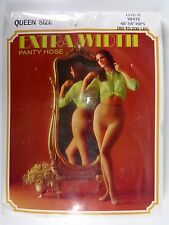 Vtg Queen Size Pantyhose Nylons Extra Width White 180 - 200 Lbs