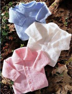 "Baby Boys Girls Textured Jacket Cardigan Sweater KNITTING PATTERN DK 12 - 24"""