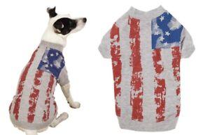 Dog Tshirts Patriotic Vintage American Flag Print USA Pup Blue Stars & Stripes