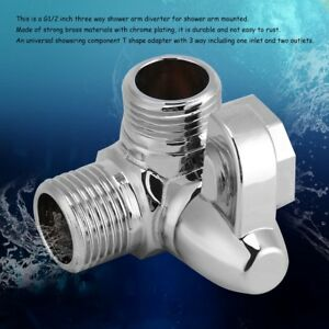 "3-Way Brass Chrome Bathroom Diverter G1/2""T-adapter Valve for Shower Arm Mounted"