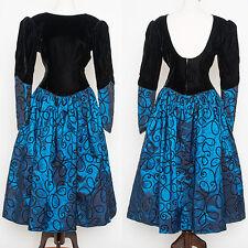 Jessica McClintock Blue Taffeta & Black Velvet Romantic Steampunk Princess Dress