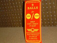 Reproduction Skee Ball Instruction Decal Skeeball *New*