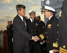 President John F. Kennedy boards the USS Northampton in Norfolk New 8x10 Photo