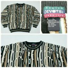 DIVOTS Men's Size XL Coogi Like Sweater Textured 3D Cosby Biggie Colorful Cotton