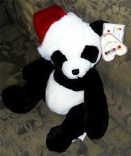 "14"" Aurora Black & White Panda Bear w/Red & White Santa Hat - NWT"