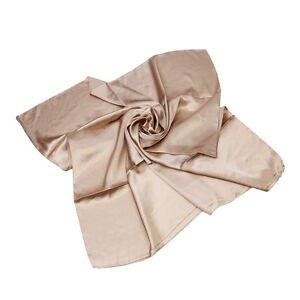 """Elegant Large Silk Feel Solid Color Satin Square Scarf Wrap 35"""" - Diff Colors"""