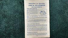Lionel # 2026 Locomotive With Smoke Generator Instructions Photocopy
