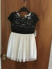 Sequin Hearts Girls Dress Black & White- Girl's Size 8 - NWT Original Cost $58.